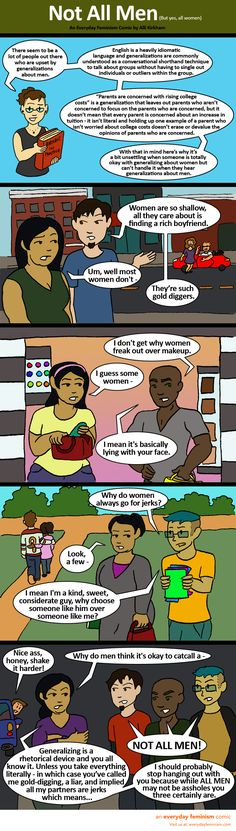 """What's the real reason why these dudes can't handle a conversation about sexism without saying """"not all men?"""" This comic nails it."""