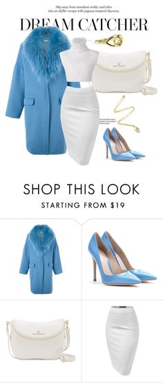 """""""LOVER coat in blue"""" by neat-to ❤ liked on Polyvore featuring P.A.R.O.S.H., Gianvito Rossi, Vince Camuto, Baja East, women's clothing, women, female, woman, misses and juniors"""