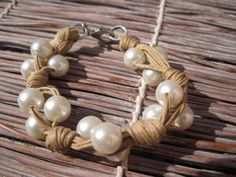 Bracelet  Cotton string  with white beads by khaliweb on Etsy, $18.00