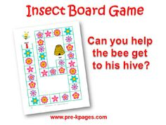 Printable Insect Board Game for #preschool and #kindergarten. Other language arts activities. Excellent companion to Apologia Flying Creatures for #homeschool science