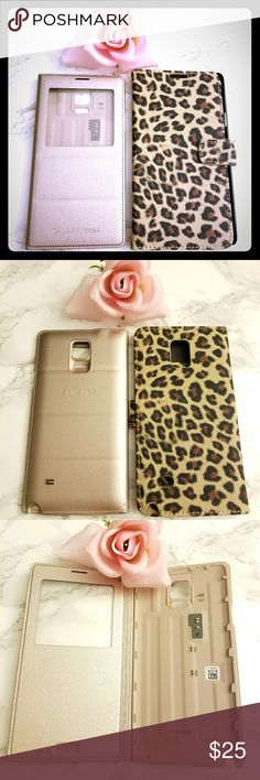 ❤clearance 4 for $20 Can be purchased with clearance 4 for $20 items ❤ if you just want this item,  just ask before purchase Bundle 2 pieces  Both fits Samsung galaxy note 4 phones  Rose gold with visible screen cover in good condition but small unnoticeable scratch marks shown in picture Cheetah print with 3 pockets for cash, credit card in good condition  Both barely used in good condition  No trades No returns Ask questions before purchase Accessories Phone Cases