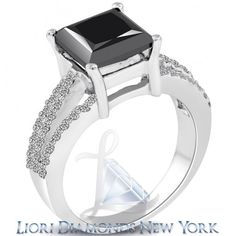 4.08 Carat Certified Princess Cut Black Diamond Engagement Ring 14k White Gold - Black Diamond Engagement Rings - Engagement - Lioridiamonds.com