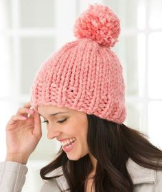 Create Some Charm Hat FREE pattern. Chunky yarn gives you a super look and has the added advantage of being fast to knit! The softly-shaded yarn color and optional pompom give this hat an on-trend look. (hva)