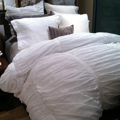 Just got this ruched white PotteryBarn Duvet and Shams. . . love white and spa or slate gray's for summer