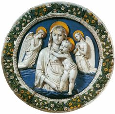 Luca Della Robbia. Madonna and Child between Two Angels. c. 1450. Glazed terracotta, diameter 100 cm