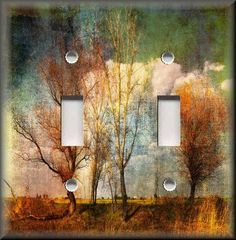 Home Decor - Light Switch Plate Cover - Copper Green Trees Along The Road #LunaGallerySwitchPlates