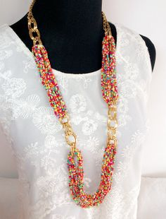 Colorful Multi Strands Beadwork Long Necklace by FantasyNight Diy Jewelry Necklace, Seed Bead Jewelry, Jewelry Making Beads, Wire Jewelry, Jewelry Crafts, Beaded Jewelry, Jewelery, Beaded Necklace, Seed Beads