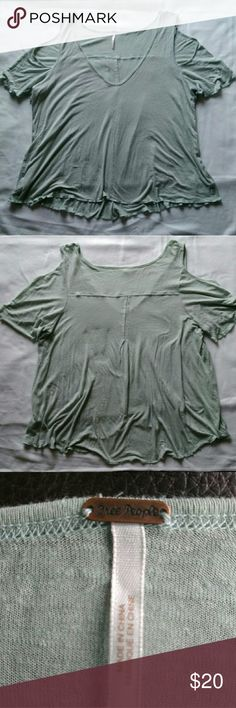 Blouse   light green, peeking shoulder Lightweight material, great condition, 70 percent rayon Free People Tops
