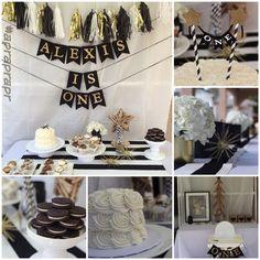 First birthday, Christmas birthday, December baby, black white gold party, stripes