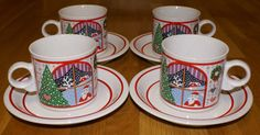 EPOCH Twas The Night Before Christmas Pattern - 4 Cups & Saucers #Epoch