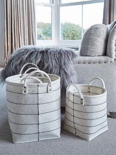 These striking ivory storage baskets will adorn any space with grace.