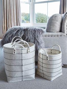 Ivory+Felt+Basket+Set