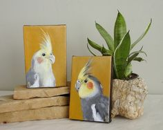 Cockatiel Pair 4x6 canvas painting, bird art made-to-order. $60.00, via Etsy.