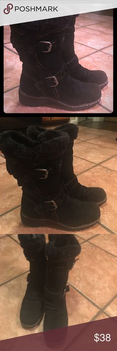 Designer Black Leather Suede Fur Moro Boots Boho These are so comfy & look really good on! Pics don't do justice. Lite lite wear. Super cozy & soft. The fur is still really lush & new. You will 💕 these. Gypsy , Boho , Moto style. These are used please don't a brand new pair . Boutique Shoes Winter & Rain Boots