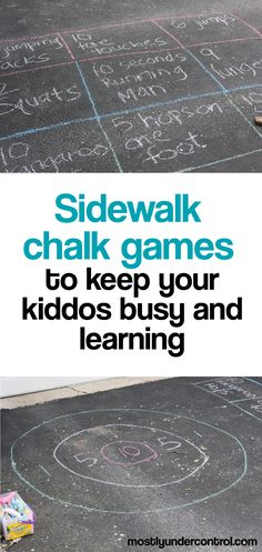 Summertime is packed full of outdoor activities and sometimes it s nice to do those activities at home Here is a round up of fun easy sidewalk chalk games that your kids will love It also includes a very simple recipe for sidewalk chalk paint Outdoor Games For Toddlers, Outdoor Party Games, Summer Activities For Kids, Summer Kids, Toddler Activities, Fun Activities, Backyard Games, Outdoor Play, Babysitting Activities