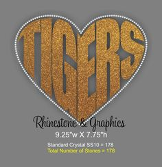 Tiger's Heart Shaped Outlined in Crystal Rhinestones Design Pattern Instant download EPS SVG Cutting Files by RhinestoneandGraphic on Etsy