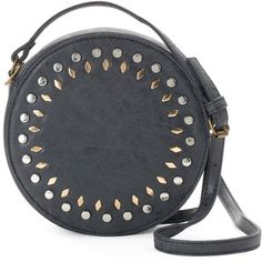 Olivia Miller Amelia Studded Canteen Crossbody Bag ($34) ❤ liked on Polyvore featuring bags, handbags, shoulder bags, clutches, crossbody bags, black, purse shoulder bag, studded shoulder bag, vegan purses and shoulder strap handbags