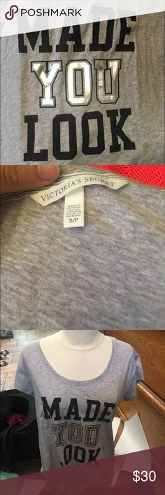 """Victoria's Secret Fashion Show Tee 2015 Small This is a never worn new without tags 2015 Victoria's Secret Fashion show tee that says """"made you look"""".  It is a size small. Victoria's Secret Tops Tees - Short Sleeve"""