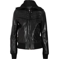 Calvin Klein Collection Elio leather bomber jacket ($590) ❤ liked on Polyvore