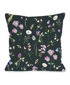 Look at this #zulilyfind! Black Wildflower Square Throw Pillow #zulilyfinds