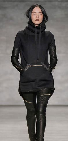 I) I feel like this is a look that anyone in Hot Topic would wear. I love the leather and soft mixture.