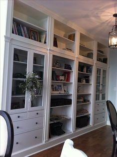hemnes items from ikea. Ikea hack built-ins (This would be a gorgeous thing to do in a master bedroom or walk in closet! Diy Interior, Interior Design, Hemnes Wardrobe, Ikea Pinterest, Ikea Decor, Built In Bookcase, Hemnes Bookcase, Bookshelves, Ikea Hack Bookcase