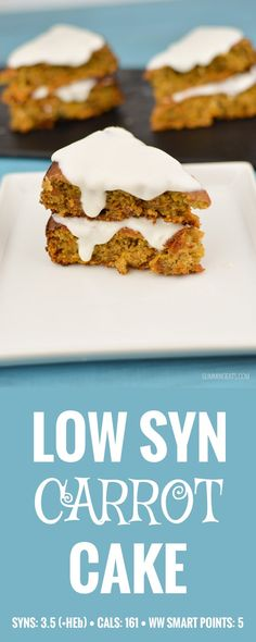 Slimming Eats Best Ever Low Syn Carrot Cake - gluten free, vegetarian Slimming World and Weight Watchers friendly astuce recette minceur girl world world recipes world snacks Slimming World Carrot Cake, Slimming World Puddings, Slimming World Desserts, Slimming World Recipes Syn Free, Slimming World Diet, Slimming Eats, Slimming Word, Slimming World Flapjack, Low Syn Cakes