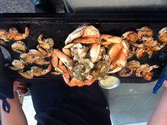 Hot Iron Skillet Roasted Crab and Shrimp at Salito's Crab House and Prime Rib.