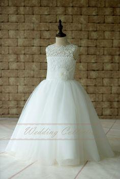 New Arrival Holy White First Communion Dresses for Girls Lace Sheer neck Flower Girls Dress for Weddings Vestidos de Comunion