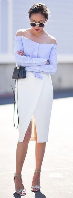 #summer #casualchic #outfits   Stripe Off the Shoulder Top + White Midi Skirt