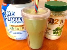 8 ounces plain kefir  5 ice cubes 1 frozen banana 1 scoop protein powder 2 Tablespoons PB2 Handful of spinach  Blend in high speed blender