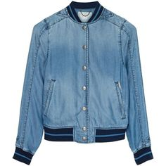 Diesel De-Jellib Denim Bomber Jacket ($84) ❤ liked on Polyvore featuring outerwear, jackets, coats & jackets, tops, denim blue, blue jackets, blue denim jacket, pocket jacket, denim bomber jacket and bomber jacket