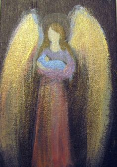 ACEO CapeCod Artist Original Acrylic Painting Healing Angel 'n Baby Gold Shimmer | eBay 9.99