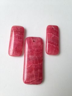 Rhodochrosite Gemstone Set 3 piece  Bead Focal Raspberry  Gemstone Bead  Supplies by LyrisBeadBoutique on Etsy