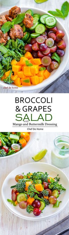 A healthy broccoli salad with sweet seedless grapes, and juicy fresh mango, coated in a lite and healthy buttermilk mint-lime dressing. Every fork of this salad will have something delicious to kee. Broccoli Grape Salad, Healthy Broccoli Salad, Veggie Recipes, Salad Recipes, Healthy Recipes, Clean Eating Recipes, Healthy Eating, Meat Salad, Mango Salad