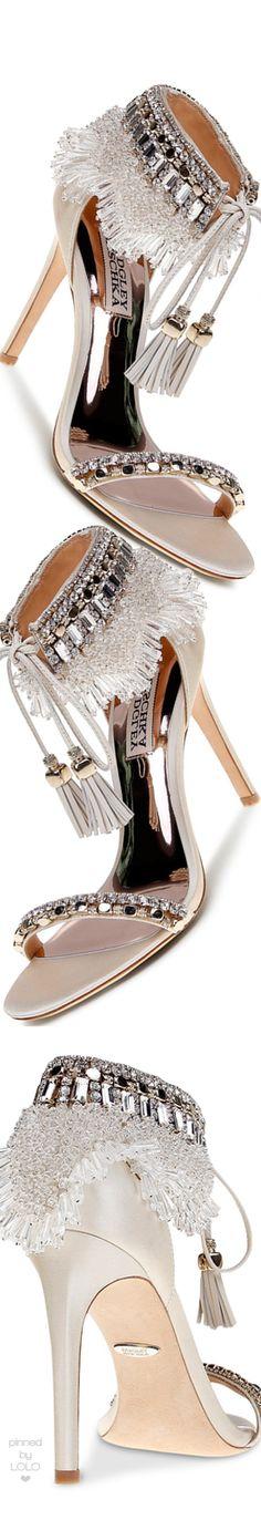 Badgley Mischka Women's Katrina Embellished Satin Ankle Tie High Heel Sandals