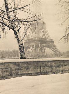 """gueule-de-loupviolette: """"Laure Albin Guillot - La tour Eiffel sous la neige ( 1940s). """""""