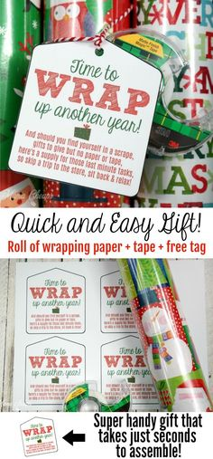Wrapping Paper & Tape Easy Last Minute Gift Idea + Tag Gifting doesn't getting much easier than this Easy Last Minute Gift Idea! Tie our free printable gift tag and a roll of tape to a roll of wrapping paper. Printable Wrapping Paper, Free Printable Gift Tags, Gift Wrapping Paper, Wrapping Papers, Wrapping Ideas, Free Printables, Neighbor Christmas Gifts, Last Minute Christmas Gifts, Neighbor Gifts