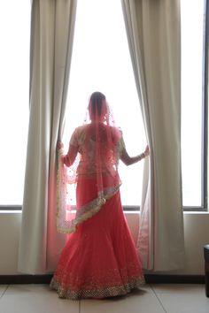#Engagement #Lehenga #coral #gold #indian #bride
