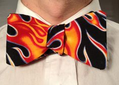 Handmade Bowtie  Flames on Black by toddsties on Etsy