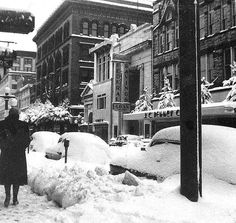 Snow In Spfd Oh 1950 Era National Road Springfield Ohio Clark County