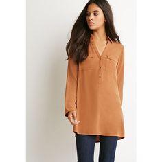 Forever 21 Flap-Pocket Shirt Dress ($25) ❤ liked on Polyvore featuring dresses, rayon dress, shirt dress, sleeve dress, shining dress and long sleeve v neck dress
