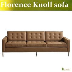 U-BEST Mid Century Modern Sofa Early Florence Knoll 3 seater couch,upholstered by top grain genuine leather