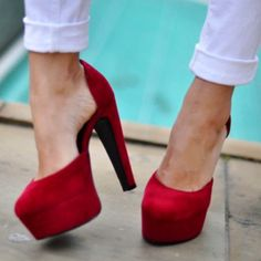 Red Suede Pumps - obsessed with the look, I just know I'd never wear them in real life though. Red Platform, Platform Pumps, Crazy Shoes, Me Too Shoes, Dream Shoes, Hot Shoes, Red High Heels, Thick Heels, Just Girly Things