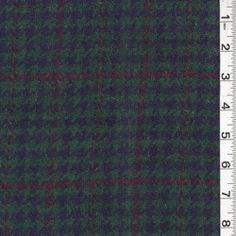 Navy/Green Plaid Wool Coating
