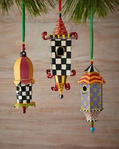 Birdhouse+Christmas+Ornaments,+3-Piece+Set+by+MacKenzie-Childs+at+Neiman+Marcus.