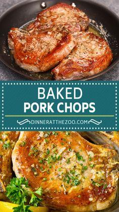 Easy Pork Chop Recipes, Pork Recipes, Cooking Recipes, Baked Meat Recipes, Oven Roasted Pork Chops, Pork Chop Marinade Baked, Oven Cooked Pork Chops, Gourmet, Pork Chops