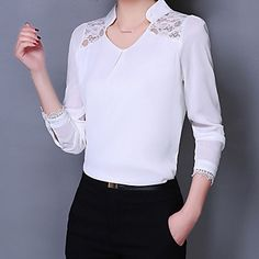 Women's clothes, Women's clothes direct from Hefei Mosen Electronic Commerce Co. in China (Mainland) Sewing Blouses, Casual Outfits, Fashion Outfits, Women's Casual, Blouse Online, Business Outfits, Outdoor Outfit, Feminine Style, Corsage