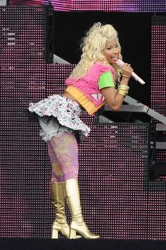 Nicki Minaj showed us what's under her skirt, while performing on stage at London's Wireless Festival.