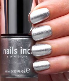 Nails Inc Cambridge Terrace Polish Nails Inc. London Nail Lacquers over pins Silver Nail Polish, Metallic Nails, Silver Nails, Polish Nails, Great Nails, Nice Nails, Fabulous Nails, Nagellack Trends, Daily Nail
